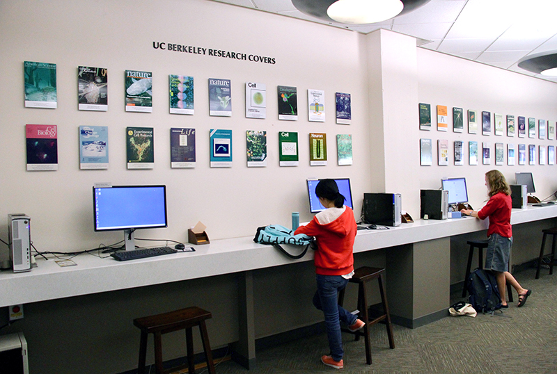 Exhibit of past students' research publication covers in September 2017