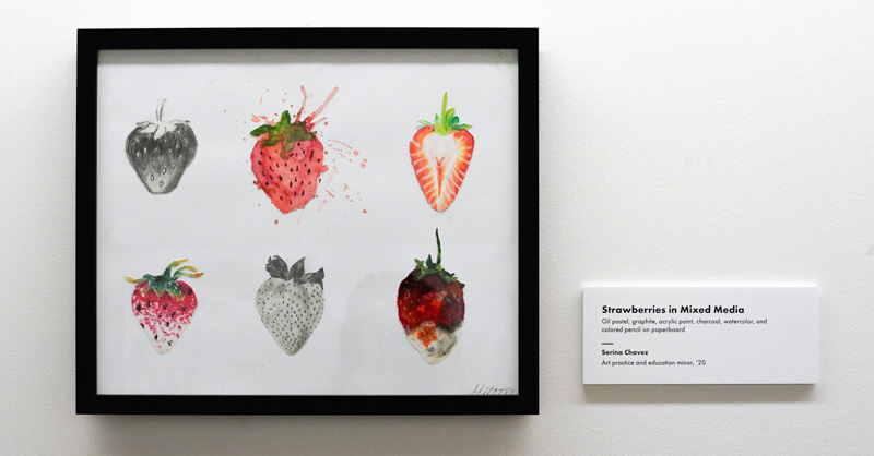 """""""Strawberries in Mixed Media,"""" by Serina Chavez on display in July 2019"""