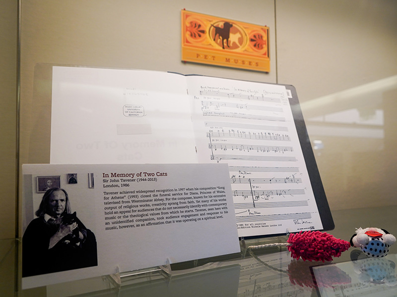Exhibit including musical pieces about pets photographed in July 2019