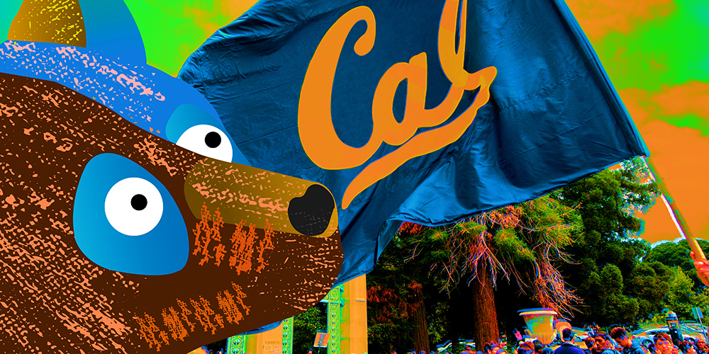 A graphic showing a bear in front of a Cal flag