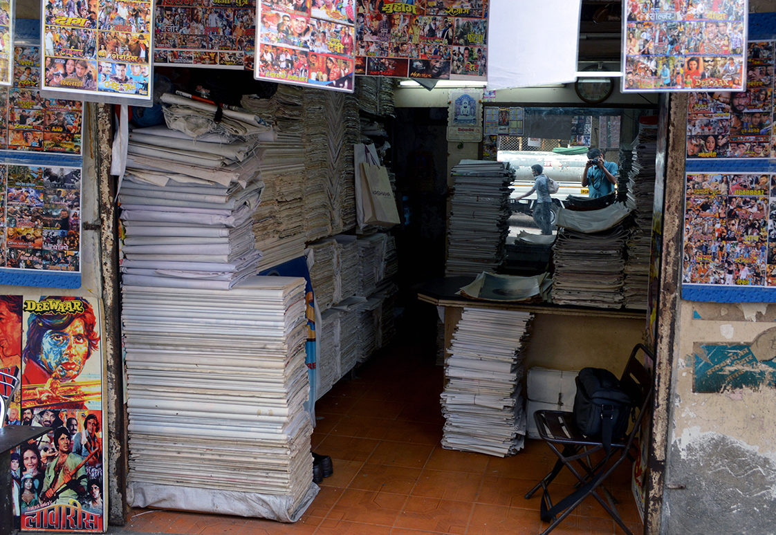 """This image shows a shop in Mumbai in 2016. The shop is where assistant professor Sugata Ray acquired many original posters for the """"Love in the Global South"""" exhibit in the Brown Gallery in Doe Library. (Photo courtesy of Sugata Ray)"""