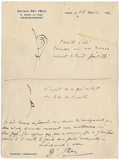 A doctor's sketch showing where the ear was cut was rediscovered by a curious researcher and a persistent reference staffer at Bancroft.