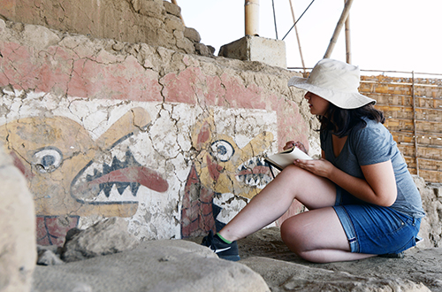 Gabriella Wellons works at an archaeological site in Huaca de la Luna, Trujillo, Peru, in June 2017. Wellons is an Undergraduate Library Fellow. (Photo courtesy of Charlotte Williams)