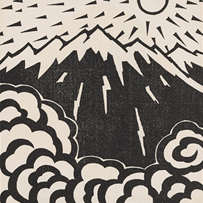 Woodcut image of a mountain with sun and clouds