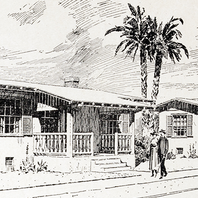 A drawing of a bungalow with palm trees