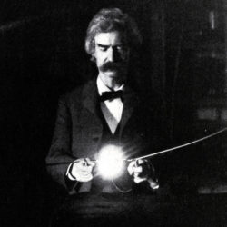 Mark Twain in Nikola Tesla's lab