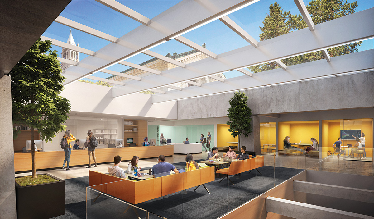 Rendering of the Center for Connected Learning's Skylit Consultation Courtyard